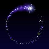Shooting star in a circular frame