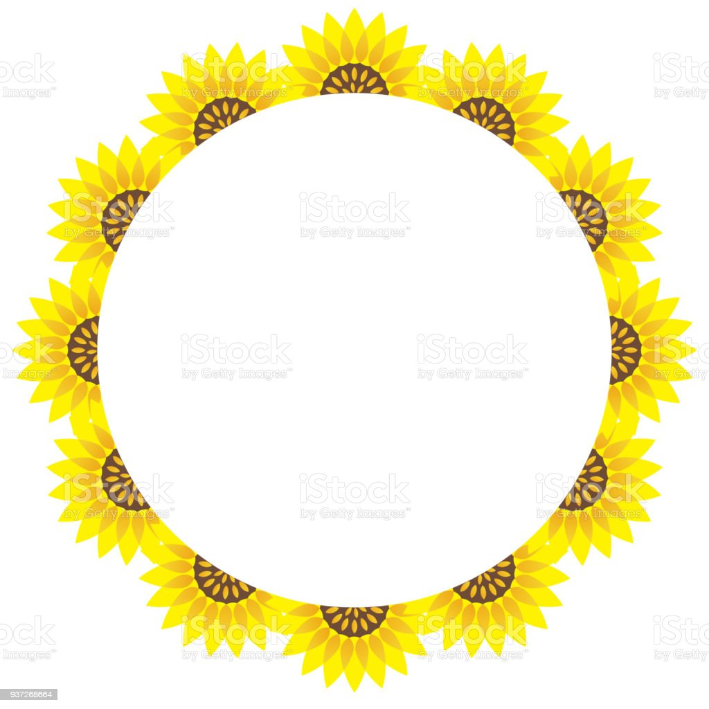 Circular Sunflower Frame With Text Space Stock Vector Art & More ...