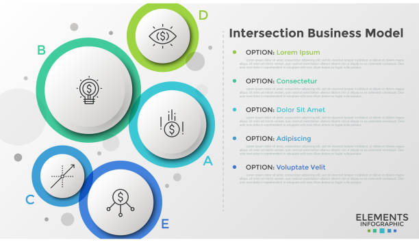 Circular translucent infographics Five translucent circular elements with letters, thin line icons and text boxes. Concept of intersection business model with 5 options. Colorful infographic design template. Vector illustration. five people stock illustrations