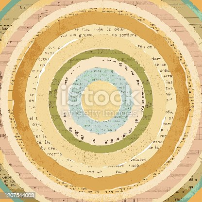istock Circular vintage torn papers collage background 1207544003