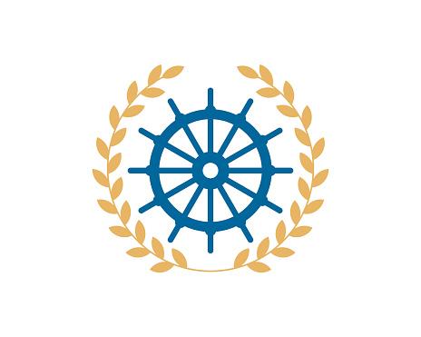 Circular wheat with ship steering wheel
