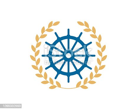 Circular wheat with ship steering wheel