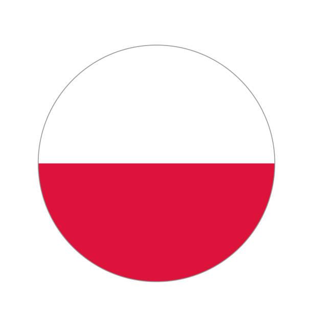 kreisförmige welt flag - flagge polen stock-grafiken, -clipart, -cartoons und -symbole