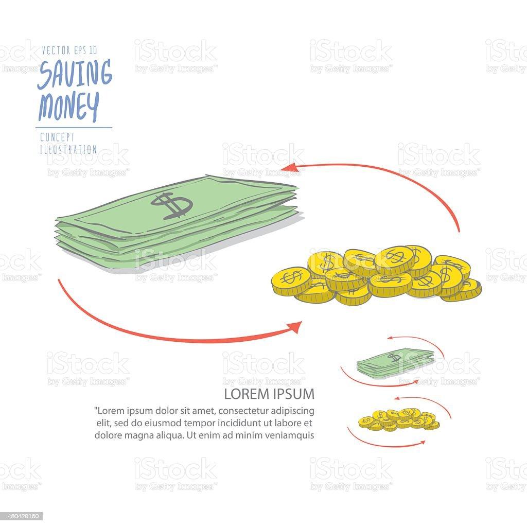 Menge Geld Von Münzen Und Dollar Zeichnen Malen Flache Vektor Stock