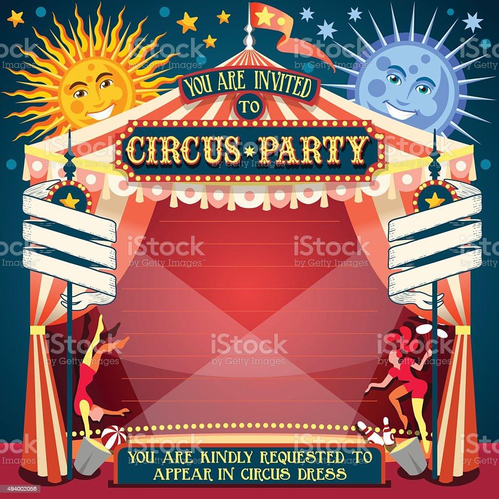 Circus 02 Invitation Vintage avec deux lits doubles - Illustration vectorielle