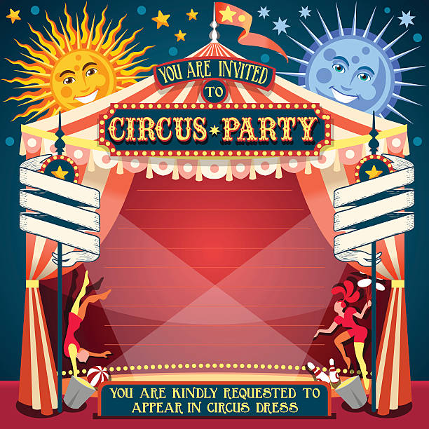 Circus 02 Invitation Vintage 2D Tale of Tales You are Invited to The Court of Miracles. Circus Carnival Colorful Retro Vintage Template for your Happy Crazy Party temps stock illustrations