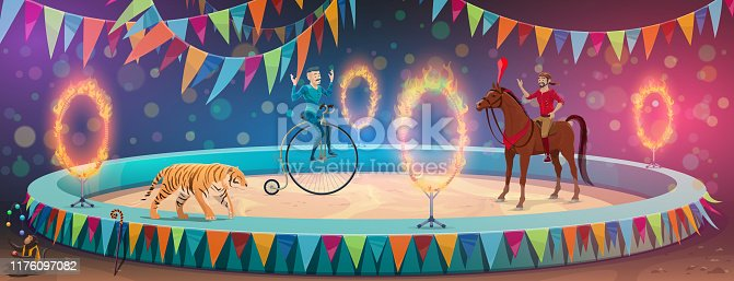 Circus show arena, acrobat equilibrist on unicycle wheel and trained animals. Vector big top circus performance horse rider or tamer and tiger with fire rings and monkey juggling balls