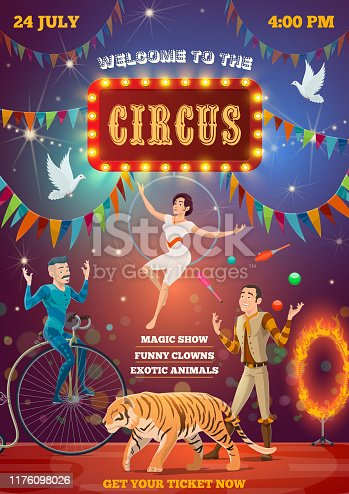 Circus entertainment show, equilibrist and animal tamers. Big top circus arena and performers, tiger in fire ring, juggling man on unicycle and woman on aerial hoop trapeze