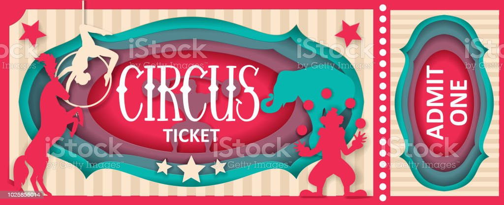 Circus admit one ticket vector paper cut template