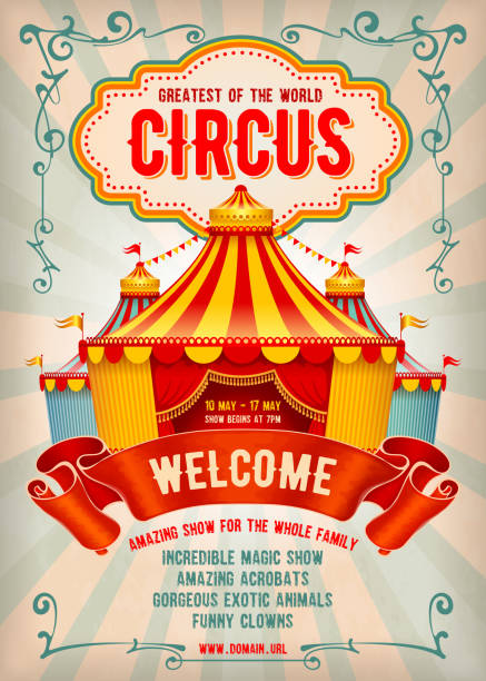 sirk reklam afişi - circus stock illustrations