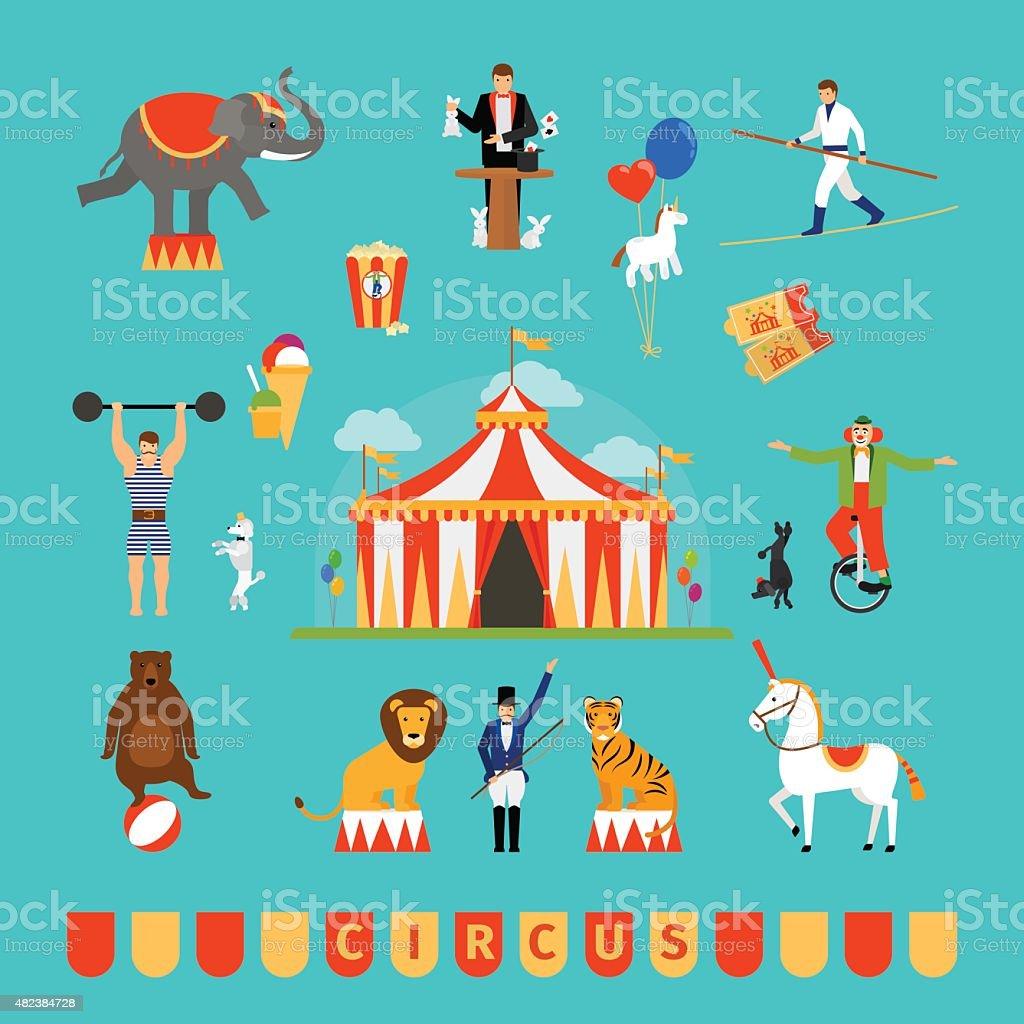 Circus and fun fair elements向量藝術插圖
