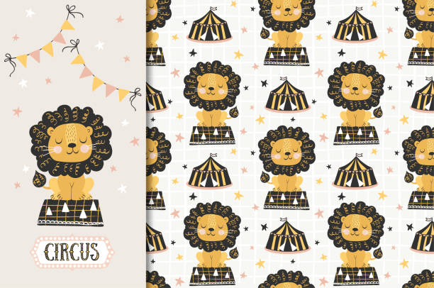 Circus animal, lion illustration and seamless pattern. Jungle animal character. Textile surface design Easy to use file. All paths are closed. RGB color profile. The stroke is converted to curves. Layers are separate and named. Objects can be divided, assembled and remade at your discretion. muziekfestival stock illustrations
