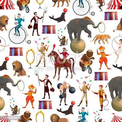 istock Circus animals and equilibrists seamless pattern 1220369478