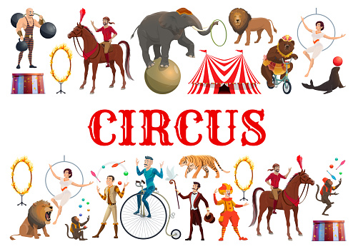 Circus animals, clowns and acrobatic equilibrists