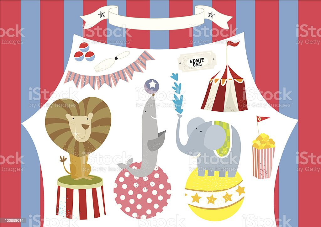 Circus Animals Performing and Tent royalty-free stock vector art