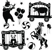 Vector illustrations of various circus animals: bear balancing on a ball, hippopotamus, panda bear, circus horse.