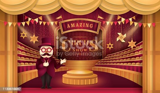 Circus arena and chairs, Premium Gold Curtains Stage, Circus Barker costume with Hat, triangle bunting flags, Fun Fair, Day Scene festival, Theme Theater, Paper art vector and illustration