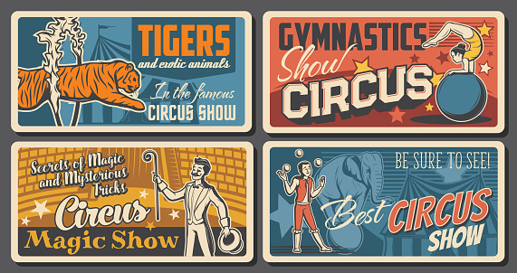 Circus artists and performers retro posters set