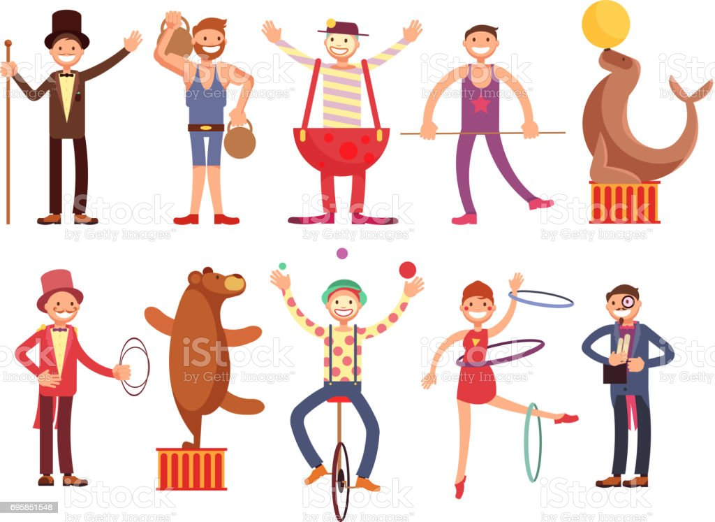 Circus artists cartoon characters vector set. Acrobat and strongman, magician, clown, trained animals vector art illustration