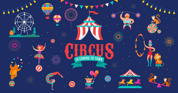 circus banner and background with tent, monkey, air balloons, gymnastics, elephant on ball, lion, jugger and clown. vector illustration - circus stock illustrations