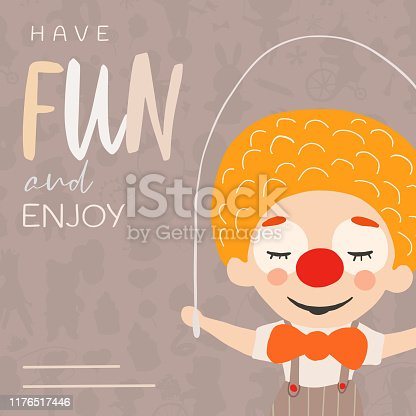 Circus banner. Invitation, banner, card. Funny and kids vector illustration. Graphic cartoon design.