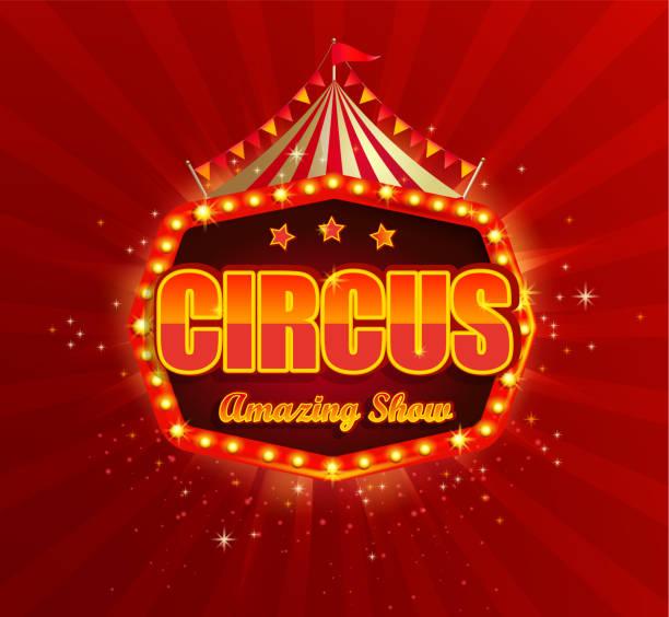 illustrazioni stock, clip art, cartoni animati e icone di tendenza di circus banner with retro light bulbs frame. - funfair entrance