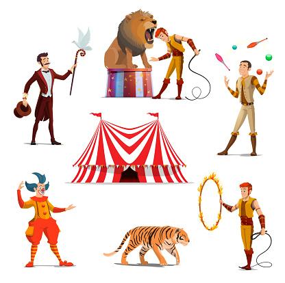 Circus big tent, trainer, magician, clown, juggler