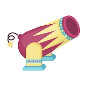 Circus cannon icon in cartoon style isolated on white background
