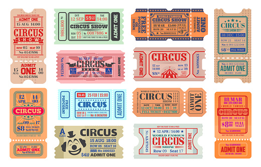 Circus carnival show vector retro tickets. Admission coupons of carnival amusement show. Isolated entertainment event tickets with vintage circus tent and clown, flags and stars