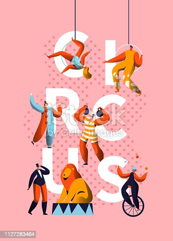 Circus Carnival Clown Character Typography Banner. Magician and Unicycle Juggler Performance. Comedy Costume Harlequin Show Advertising Vertical Poster Design Flat Cartoon Vector Illustration