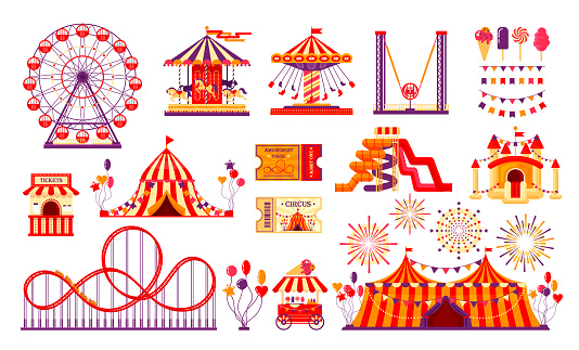 Circus carnival elements set isolated on white background. Amusement park collection with fun fair, carousel, ferris wheel, tent, roller coaster, baloons, tickets. Vector illustration
