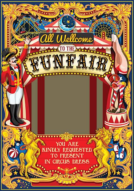 Circus Carnival Frame vintage 2d vector - Illustration vectorielle