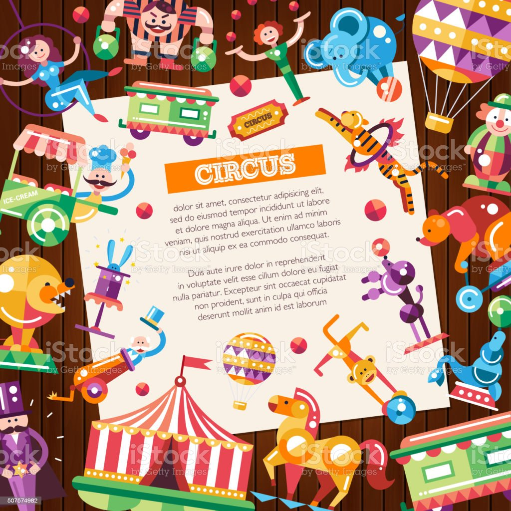 Circus, carnival icons and infographic elements postcard vector art illustration