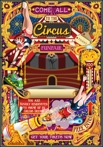 Circus Carnival Invite Theme Park Poster Tent Vector Illustration vector art illustration