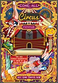 Circus Carnival Invite Theme Park Poster Tent Vector Illustration