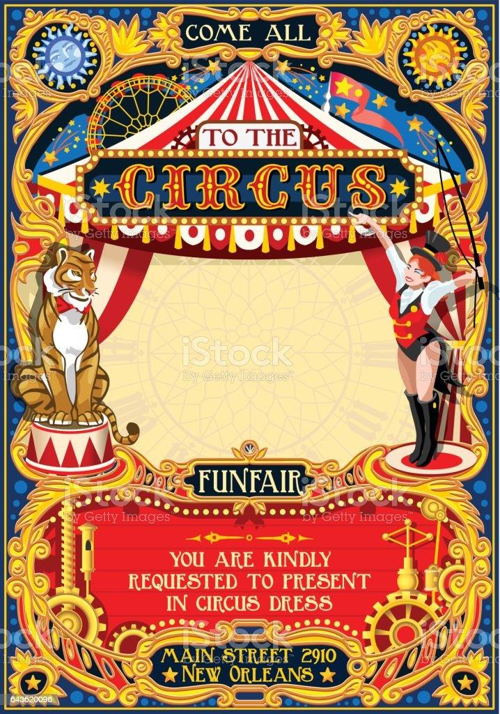 Circus Carnival Invite Vintage 2d Vector Stock ...