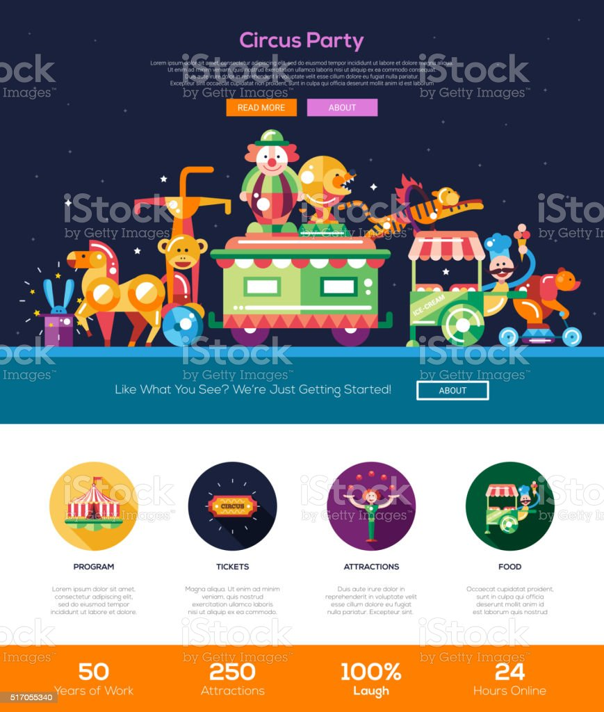Circus, carnival party website header banner with webdesign elements vector art illustration