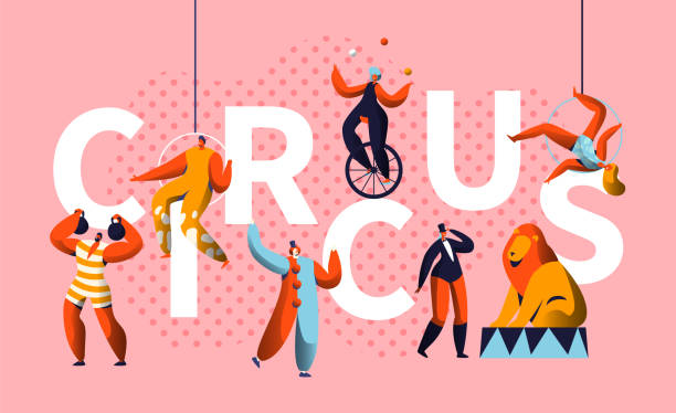 circus carnival show character typography horizontal poster. magician and unicycle juggler entertainment. funny costume strongman colorful advertising letter banner flat cartoon vector illustration - circus stock illustrations