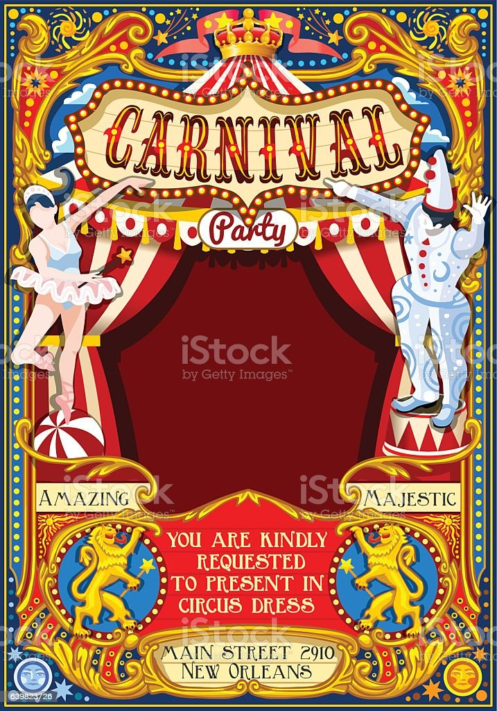 Circus Carnival Theme vintage 2d vector ベクターアートイラスト
