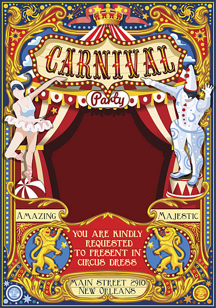 Circus Carnival Theme Vintage 2d Vector Art Illustration