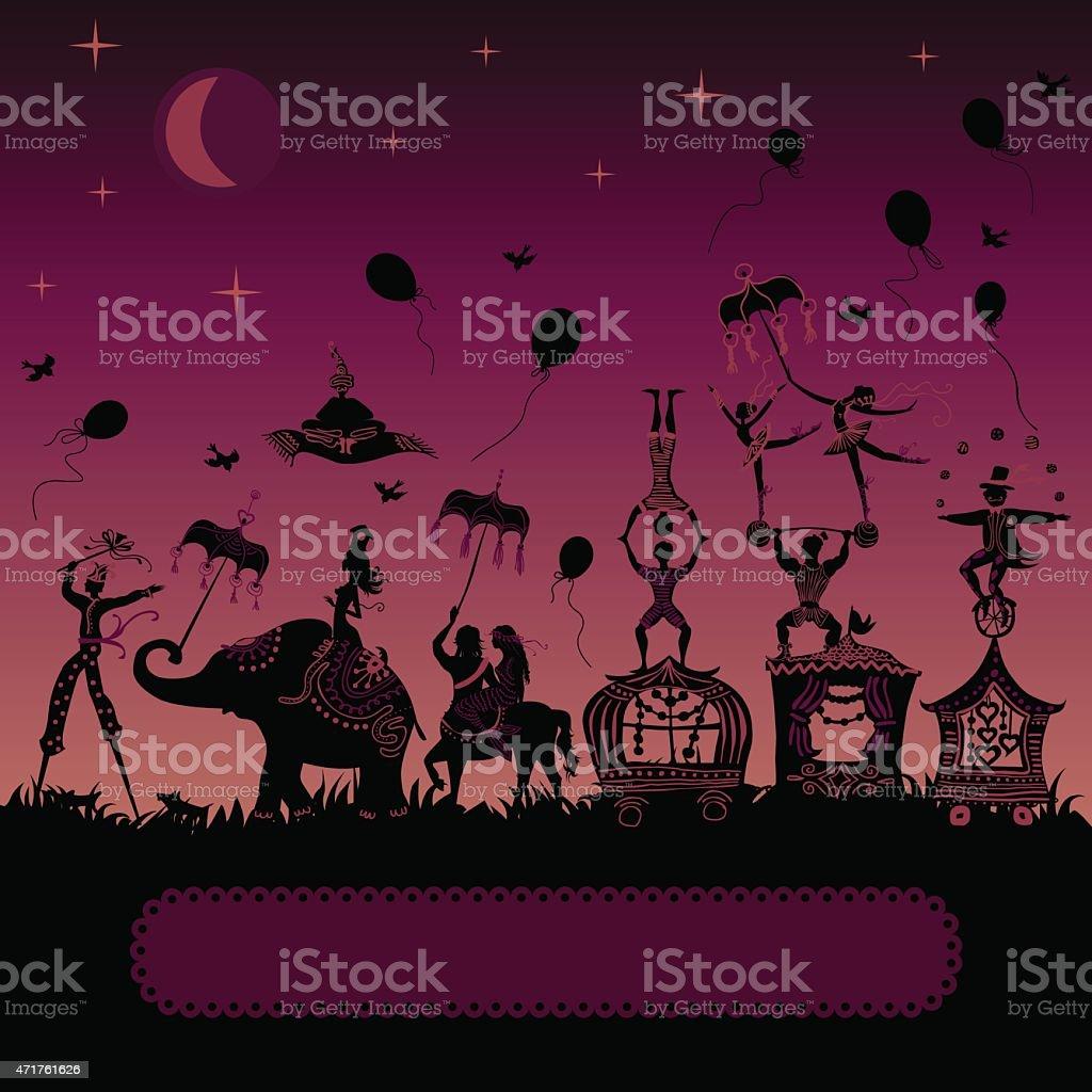 circus carnival traveling at night vector art illustration