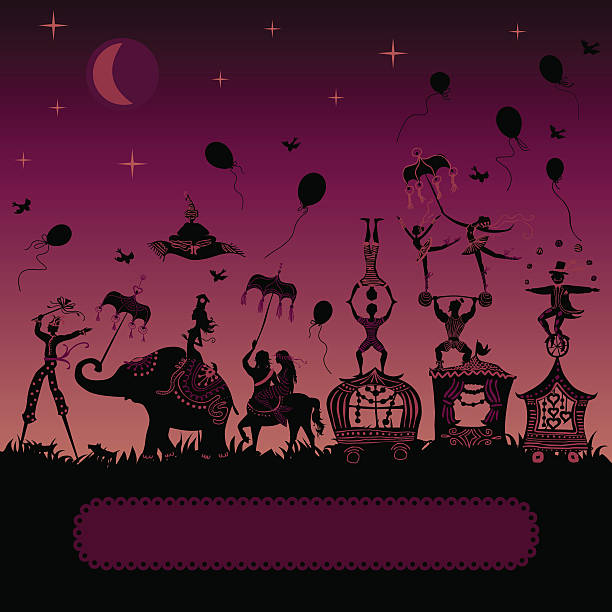 circus carnival traveling at night vector art illustration