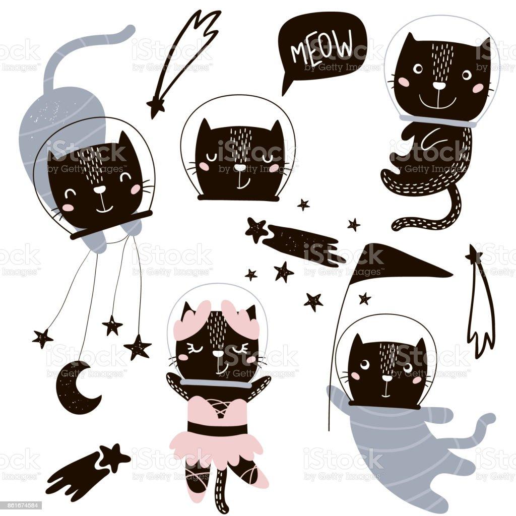 サーカス猫宇宙飛行士はベクトル クリップ アートですかわいい漫画の