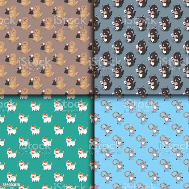 Circus cats seamless pattern vector cheerful illustration little vector id686900526?b=1&k=6&m=686900526&s=612x612&h=pn8d8wywr6pypk8v7t6 dz z8txcuu0vjf0frlshbok=