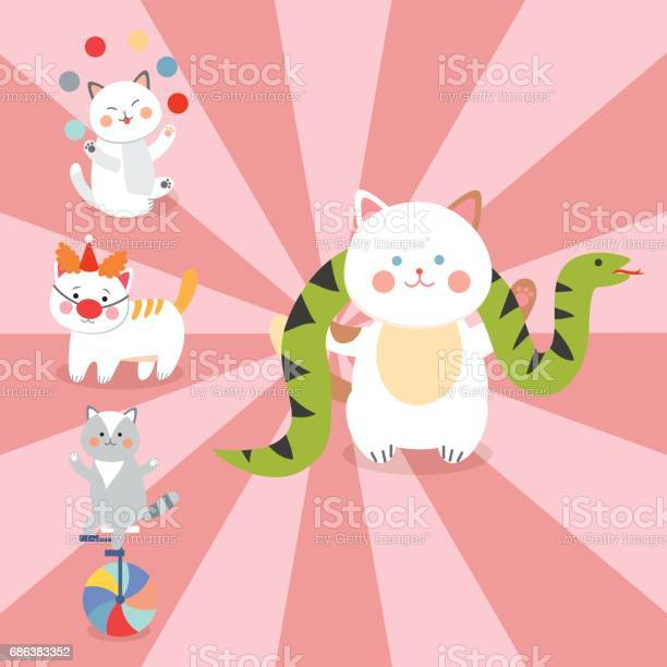 Circus cats vector cheerful illustration for kids with little vector id686383352?b=1&k=6&m=686383352&s=612x612&h=nyfvkugedqx6ntc8cham1g6xbos0suteorujo12lz4o=
