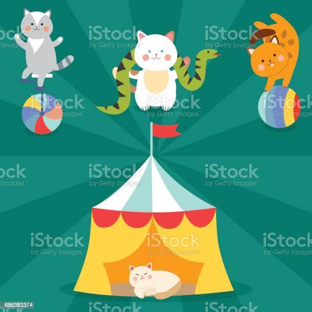 Circus cats vector cheerful illustration for kids with little vector id686383374?b=1&k=6&m=686383374&s=612x612&h= wahmm0kjc cx dzdp8y84mwnzlhveuubv6mndijt3u=