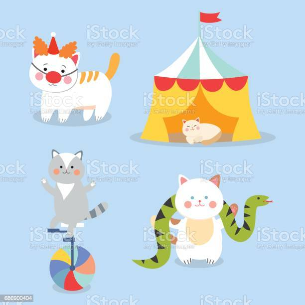Circus cats vector cheerful illustration for kids with little vector id686900404?b=1&k=6&m=686900404&s=612x612&h=xttgzrwptkgri3chmpi5mri6y0oe0zxmkyxhwfljsee=