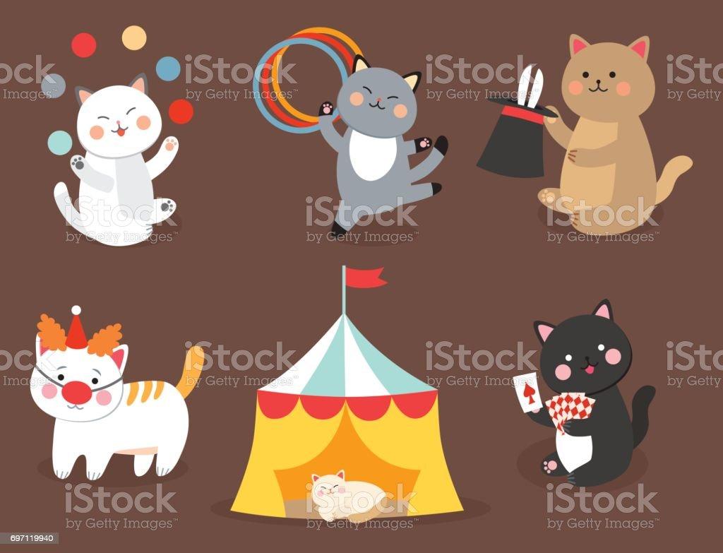 Ilustración de Gatos De Circo Vector Ilustración Alegre Para Niños ...