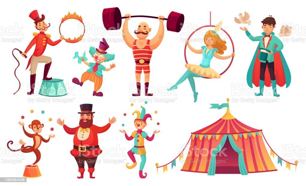 Circus characters. Juggling animals, juggler artist clown and strongman performer. Cartoon vector illustration set - Векторная графика Акробат роялти-фри