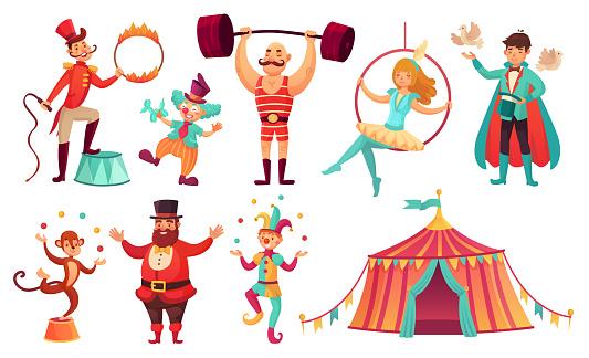 Circus characters. Juggling animals, juggler artist clown and strongman performer. Cartoon vector illustration set